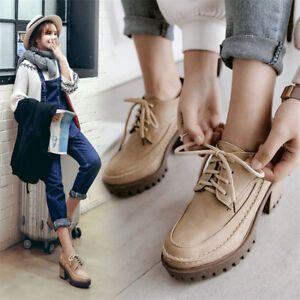 a3c4326f136 Vintage Women s Ankle Boots Round Toe Lace Up Block High Heels ...