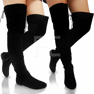 NEW WOMEN LADIES FLAT LOW HEEL BLOCK THIGH HIGH OVER KNEE ZIP LACE UP BOOTS SIZE
