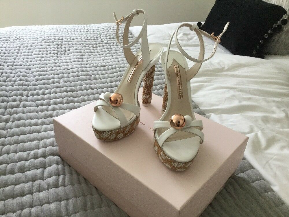 Sophie Webster Webster Webster Loren Crystal White Sandals Size 4 (37) 655337