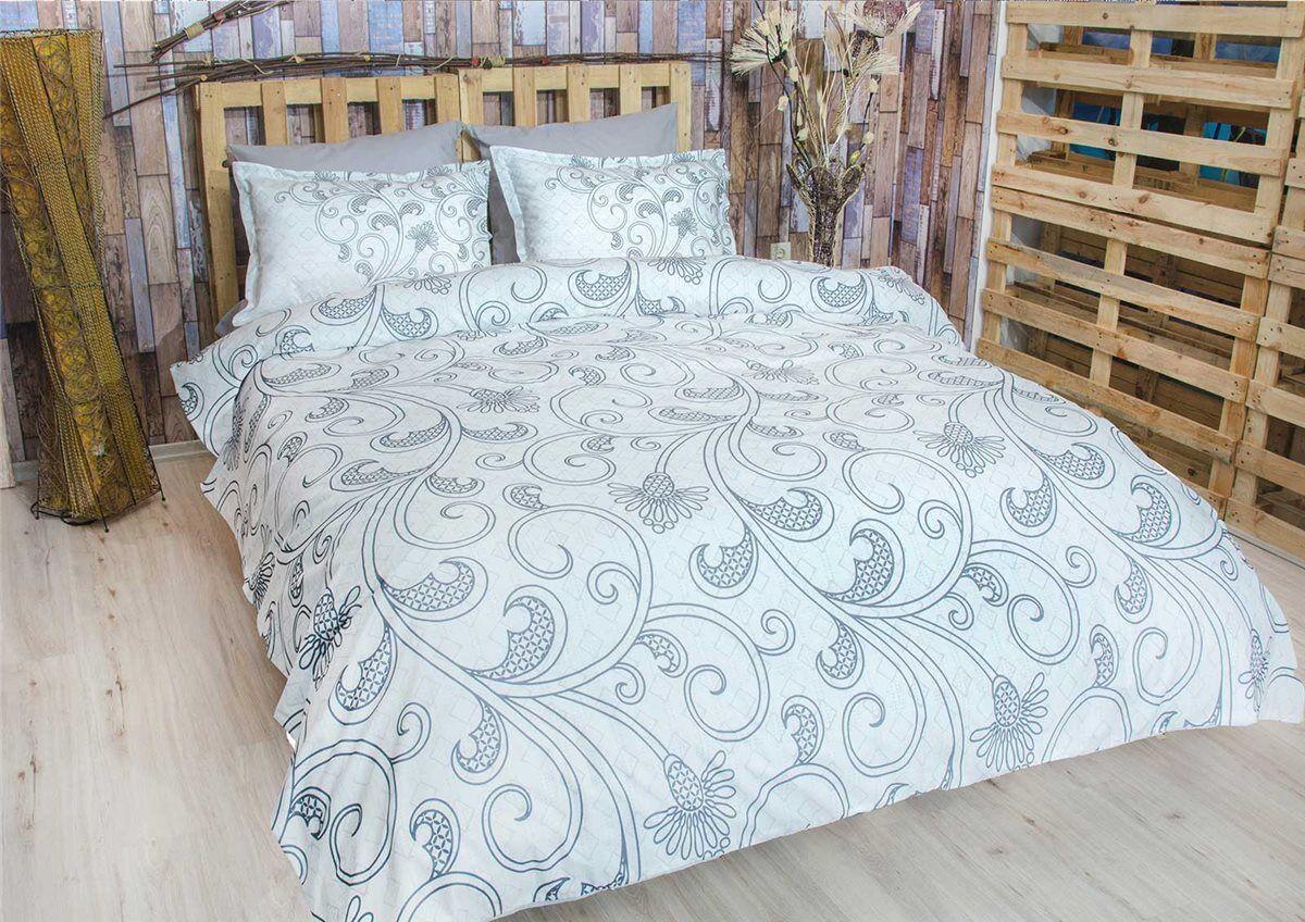 Bettwäsche 220x240 cm Bettgarnitur Bettbezug Baumwolle Kissen 6 tlg EBRULI GRAU