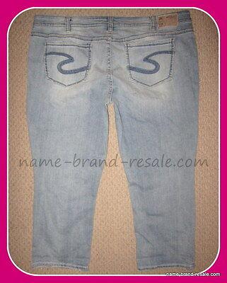 TORRID SILVER SUKI Capri Jeans Womens PLUS 24 3X Light Wash DISTRESSED Cropped