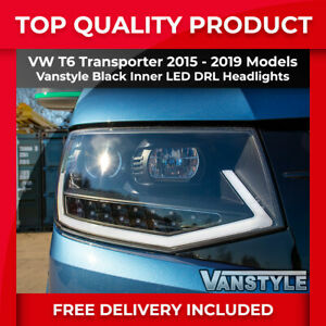 Details about VW T6 TRANSPORTER 2015-19 BLACK CHROME INNER LED DRL  HEADLIGHT REPLACEMENT UNITS