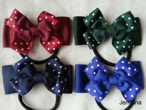 Jemlana/'s handmade school hair ties for girls.