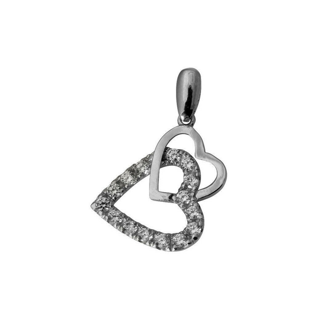 14K Solid White gold Round CZ Two Hearts Charm Pendant