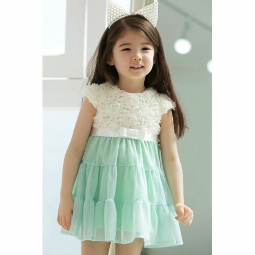 Baby Girls Rose Flower Tutu Party Summer Wedding Short Sleeve Dress