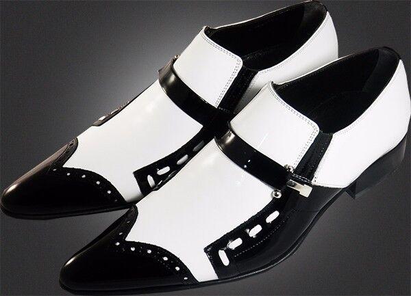 100% Chelsy - Insolite Italien Designer Mocassins En Noir/blanc
