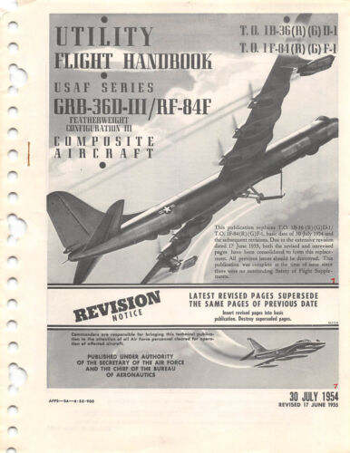 B-36 CD //RF-84F Utility Flight Handbook Flight Manual 1955 GRB-36D