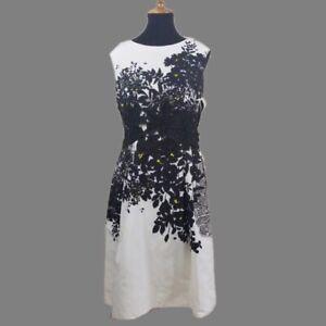 Carmen-Marc-Valvo-Womens-B-W-Knee-Length-Embroidered-Sheath-Dress-Size-6