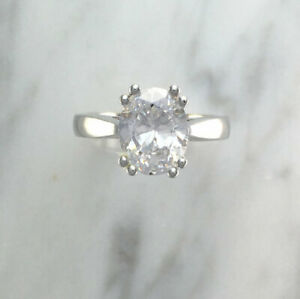 2.50 Ct Oval Cut Moissanite Engagement Ring 18K Solid White Gold ring Size 5 6 7