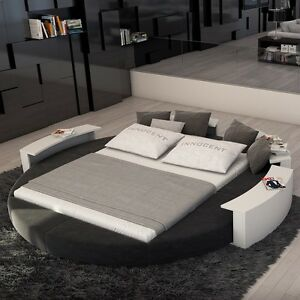 Rotana Modern Queen Size Round Bed Fabric White On Gray For Bedroom Furniture