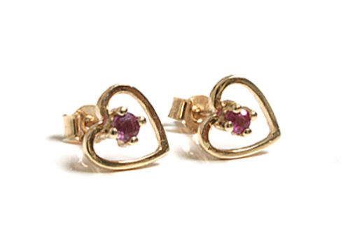 9ct Gold Ruby Heart stud earrings Gift Boxed Made in UK