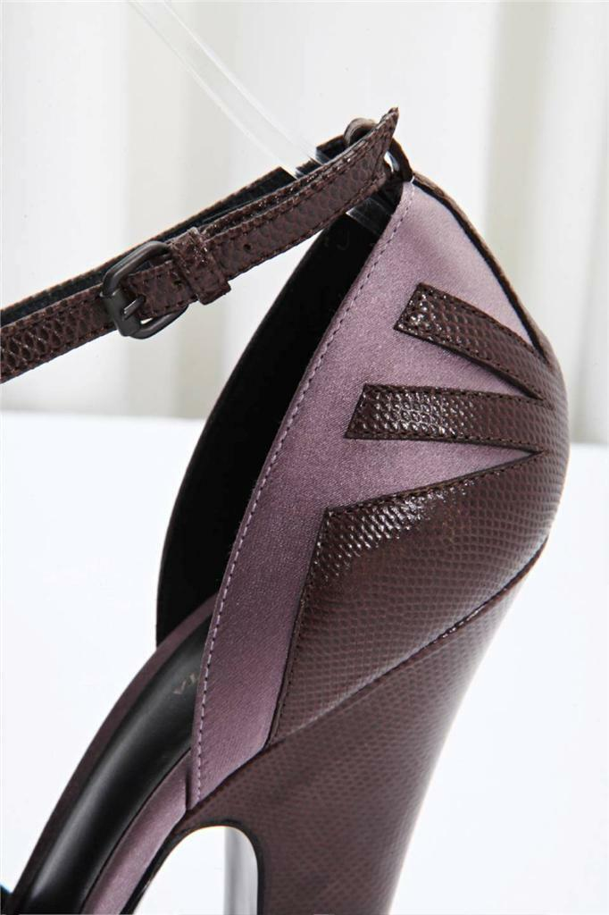 Bottega Veneta Para Mujer Marrón Lagarto + púrpura high-heel satén T-Strap high-heel púrpura Bombas 8.5-38.5 834abb