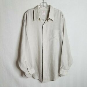 Brooks-Brothers-1818-All-Irish-Linen-Mens-Grey-Button-Front-L-S-Shirt-Sz-XL-S322