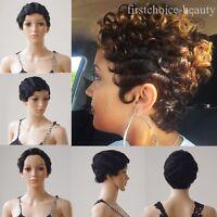 Classsic 1920's Brazilian Remy Human Hair Flapper Finger Wave Wavy Mommy Wig fst