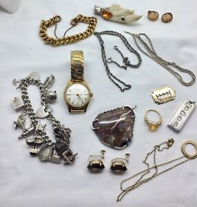 Antique-And-Vintage-Silver-amp-Gold-Diamond-Jewellery-Lot