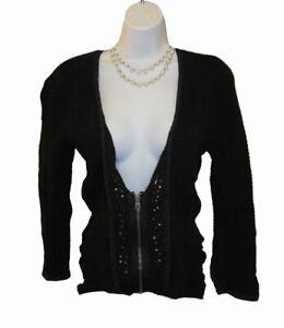 FREE PEOPLE Cardigan SWEATER Size M 8 10 Dark BROWN Embellished Zip Front V Neck