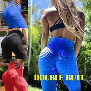 Women High Waist Yoga Pants Push Up Leggings Ruched Anti Cellulite Sports Gym D5