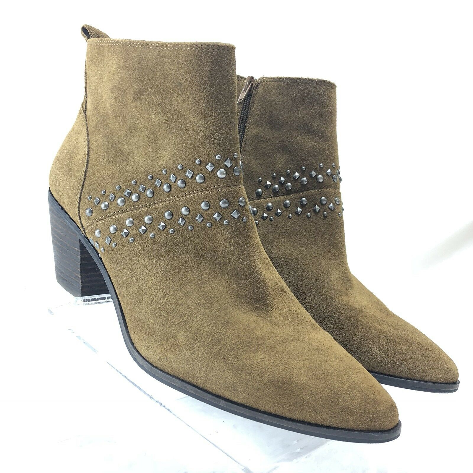 Lucky Brand Womens Brown Suede Booties Ankle Boots Beaded Size 10M/40