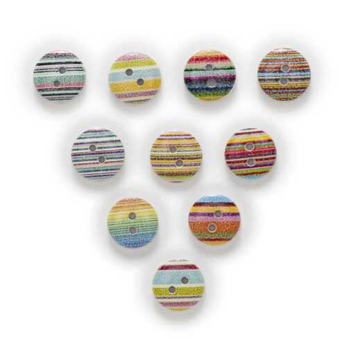 50pcs Stripe Printing Wooden Buttons for Sewing Scrapbooking Handwork Decor 15mm