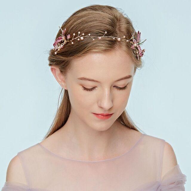 Flower Crown Wedding.Headband Wedding Jewelry Pearl Dragonfly Bride Hairband Flower Crown Tiaras