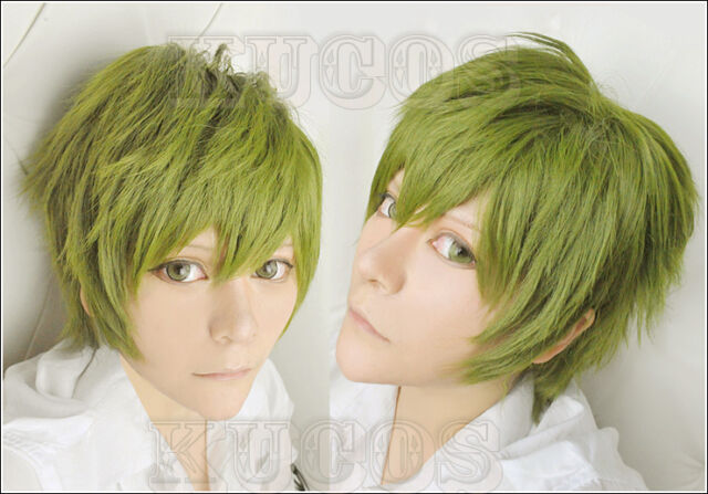 440 Free! Makoto Tachibana Short Tea Green Cosplay Wig Free shipping