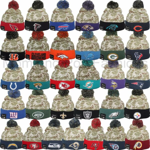 0fb4a4059 New Era 2015 NFL SALUTE TO SERVICE On Field CAMO Pom Pom Knit Beanie Cap Hat