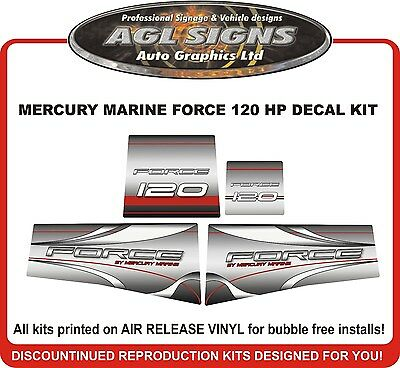 Mercury Force 120hp outboard engine decals//sticker kit black