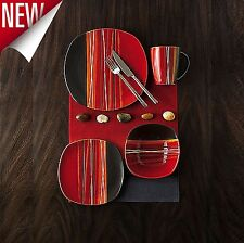 16 Piece Square Dinnerware Set Dishes Dinner Stoneware Plates Kitchen Mugs Red : red square plates set - pezcame.com