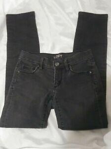 Womens-Ann-Taylor-Loft-Modern-Skinny-Faded-Black-Jeans-Size-00