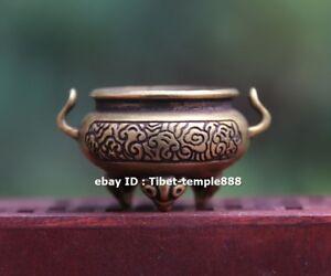 6 CM Chinese Pure bronze Copper Foo Dog lion Dragon Head Incense Burners Censer