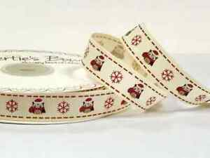Berties-Bows-Owls-And-Snowflakes-On-Ivory-Grosgrain-Christmas-Ribbon-16mm