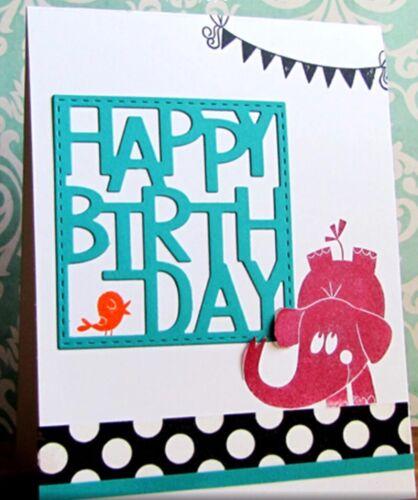 Happy Birthday Square Cutting Die Card Craft Suit Magnolia Tilda
