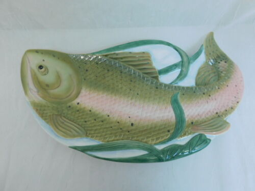LENOX RIVERWOOD TROUT SALMON FISH TRAY PLATTER SERVING CATHERINE MCCLUNG