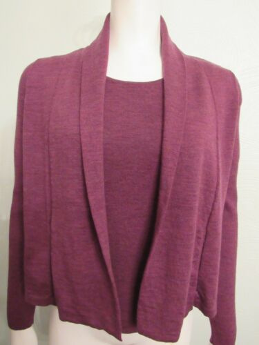 Details about  /Eileen Fisher 2 Piece Wool Knit Tank Set In Red S M Top And Cardigan