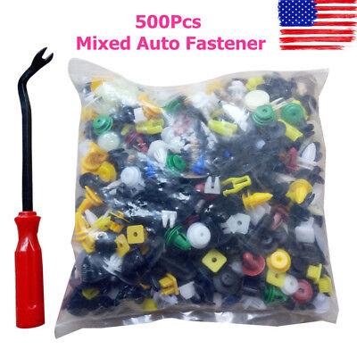 500PCS Push Pin Mix Door Trim Panel Clip Fastener Bumper Rivet Retain /& Tool Set
