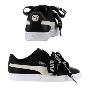 Pantofole Pantofole nero Stringate Puma donna da 364082 bianco Basket Heart wprtq1pO