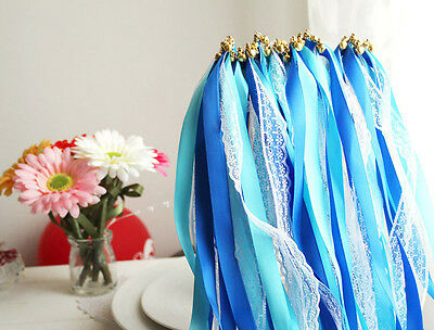 50P*Outdoor Wedding Lace Ribbon stick + bell decorative Garland Party Favors D5