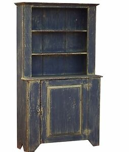 Image Is Loading STEP BACK CUPBOARD PAINTED PRIMITIVE HUTCH RUSTIC COUNTRY