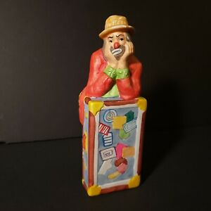 Vintage Hand Painted Ceramic Clown Figurine by Flambro 8 inches tall