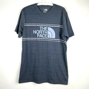 The-North-Face-Mens-Large-Slim-Fit-Charcoal-Short-Sleeve-Crew-Neck-T-Shirt-Logo