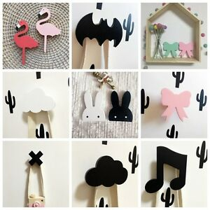 Cute wooden clothes hook for kids room wall decorate for Wall hooks for kids room