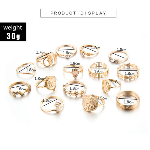 15 pcs//set Fashion Boho Femmes Charme Palm Cristal Feuille Coeur or anneaux bijoux