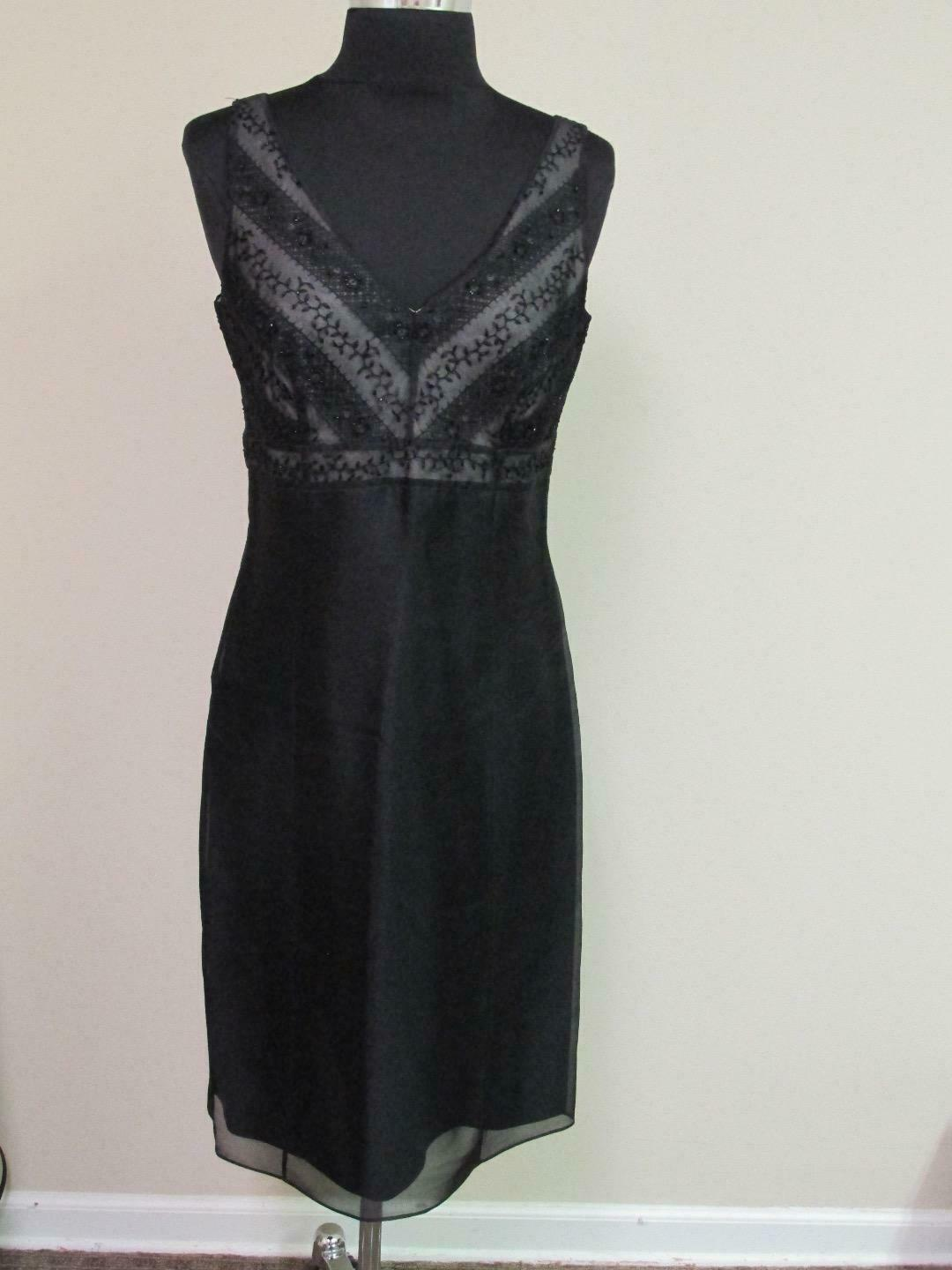 ANN TAYLOR schwarz Silk Embroidery V Neck Sleeveless Lined Dress NWT Sz 4 GG6828