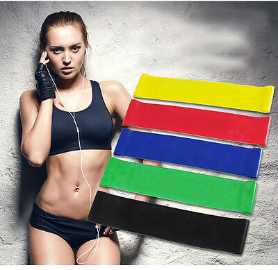 5 pcs set Resistance Loop Band Exercise Yoga Bands Rubber Fitness Training Bands