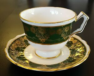 Aynsley-Green-amp-Gold-Pattern-No-2903-Teacup-Saucer