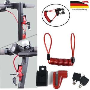Elektroroller E-Scooter Diebstahlsicherung Scheibenbremsen Schloss Drahtschloss#