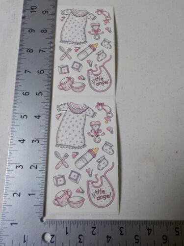 FRANCES MEYER LITTLE ANGEL PINK BABY BOTTLE BIB STICKERS SCRAPBOOKING A3073