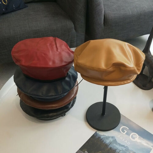 Vintage Womens Ladies Faux Pu Leather Beret Hat French Cap Winter Gifts new~ Ua