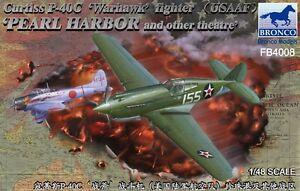 Bronco 1/48 P-40c 'warhawk' De Combat Usaaf Perle Port # Fb4008