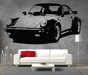 Porsche-911-turbo-vinyle-sticker-mural-art-garcons-chambre-garage-salle-de-jeux